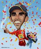 Alberto Contador karikatyr Arkivfoton