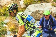 Alberto Contador op de Bergenwegen - Ronde van Frankrijk 2015 royalty-vrije stock foto