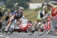 Alberto Contador and Romain Bardet Tour de France 2015 Royalty Free Stock Images