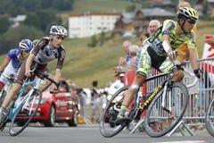 Alberto Contador and Romain Bardet Tour de France 2015 Stock Images