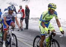 Alberto Contador and Thibaut Pinot rise in Terminilo Stock Photography