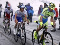 Alberto Contador and Thibaut Pinot rise in Terminilo Royalty Free Stock Photography