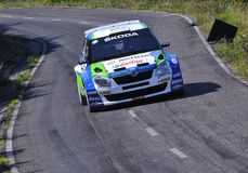 Alberto Hevia with the Skoda Fabia S2000 Stock Images