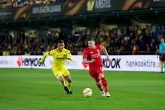Alberto Moreno-spelen bij de Europa gelijke van de Ligahalve finale tussen Villarreal CF en Liverpool FC Royalty-vrije Stock Foto