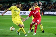 Alberto Moreno-spelen bij de Europa gelijke van de Ligahalve finale tussen Villarreal CF en Liverpool FC Royalty-vrije Stock Fotografie