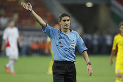 Alberto Undiano Mallenco - football referee. Referee Alberto Undiano Mallenco pictured during Romania - Hungary FIFA World Cup qualifier football game at Stock Photos
