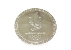 Albertville 1992 Winter Olympic Games Participation medal reverse Kouvola Finland 06.09.2016. Royalty Free Stock Image