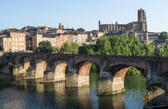 Albi, bridge over the Tarn river. Albi (Tarn, Midi-Pyrenees, France) - Panoramic view from the ancient bridge over the Tarn river Royalty Free Stock Image