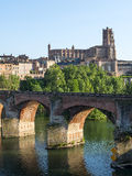 Albi, bridge over the Tarn river. Albi (Tarn, Midi-Pyrenees, France) - Panoramic view from the ancient bridge over the Tarn river Stock Images