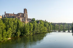 Albi, bridge over the Tarn river. Albi (Tarn, Midi-Pyrenees, France) - Panoramic view from the ancient bridge over the Tarn river Stock Image