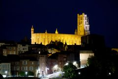 Albi cathedral at night with light.  royalty free stock photos