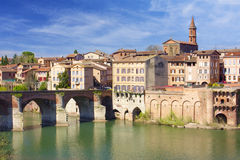 Albi cityscape. Quay of Albi in France Royalty Free Stock Photography