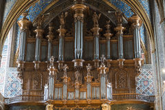 Albi (France), cathedral organ. Albi (Tarn, Midi-Pyrenees, France) - Interior of the historic cathedral: the organ royalty free stock photo