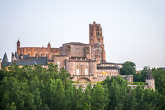 Albi (France), cathedral. Albi (Tarn, Midi-Pyrenees, France) - Exterior of the historic cathedral at evening Royalty Free Stock Photo