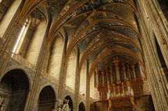 Albi (France). Albi (Tarn, Midi-Pyrenees, France) - Interior of the historic cathedral, in gothic style Stock Images