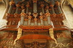 Albi (France). Albi (Tarn, Midi-Pyrenees, France) - Interior of the historic cathedral, in gothic style. The organ Royalty Free Stock Photography