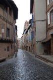Albi gata i en regnig dag fotografering för bildbyråer