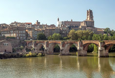 Albi medieval city in France. Located next to the river, its bridges and cathedral surrounded by houses  on a sunny day Royalty Free Stock Images