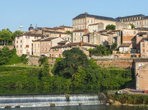Albi, panoramic view. Albi (Tarn, Midi-Pyrenees, France) - Panoramic view from the ancient bridge over the Tarn river Royalty Free Stock Image