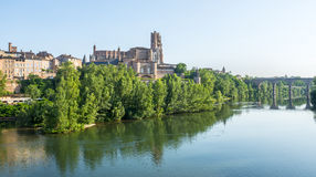 Albi, panoramic view. Albi (Tarn, Midi-Pyrenees, France) - Panoramic view from the ancient bridge over the Tarn river Stock Image
