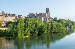 Albi, panoramic view. Albi (Tarn, Midi-Pyrenees, France) - Panoramic view from the ancient bridge over the Tarn river Royalty Free Stock Images