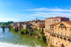 Albi in Southwestern France. Albi is a world heritage UNESCO site. View of the Tarn River and the Cathedral Saint Cecile,. France Stock Photography