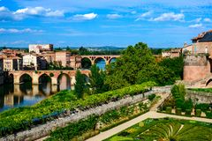 Albi, view of the city and the bridges over the Tarn River. France Royalty Free Stock Image
