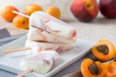 Albicocca della pesca e ghiaccioli arancio sul piatto bianco con il franco fresco immagine stock