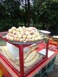 Albicocche e meloni di taglio Fotografia Stock Libera da Diritti