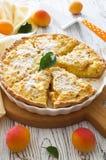 Albicocche e torta di formaggio casalinghe del cottage Immagine Stock