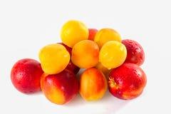 Albicocche, nettarine frutta eccellente, alimento antiossidante dell'alta energia, ripetitore di salute Albicocche meiterranean s fotografia stock libera da diritti