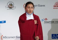 Albina Mambetova,金牌获得者 免版税库存照片
