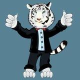Albino do tigre no terno ilustração royalty free