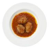 Albondigas van vleesballetjes, tomaat, geïsoleerdei olijfolie, Royalty-vrije Stock Afbeeldingen