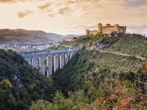 Albornoz castle and Ponte delle Torri, Spoleto, Italy Royalty Free Stock Photos