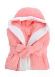 Albornoz rosada aislada en blanco Imagenes de archivo