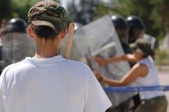 Alborotadores - entrenamiento para el disturbio civil Foto de archivo libre de regalías