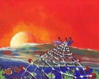 Alboroto en la puesta del sol ilustración del vector