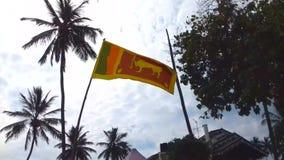 Alborotos de la bandera de Sri Lanka almacen de metraje de vídeo