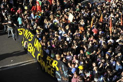 Alborotos en Roma - protesta italiana de los estudiantes Imagen de archivo