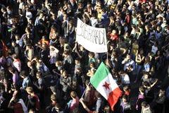 Alborotos en Roma - protesta italiana de los estudiantes Fotografía de archivo libre de regalías