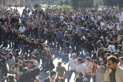 Alborotos en Roma - protesta italiana de los estudiantes Fotografía de archivo