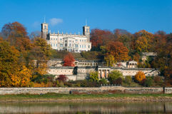 Albrechtsberg Palace in fall Stock Photos