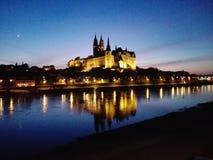 Albrechtsburg in Saksen in avond Royalty-vrije Stock Afbeelding