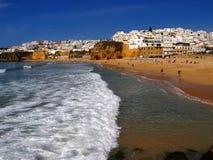 albufeira algarve海滩葡萄牙 库存照片