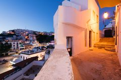 Albufeira, Algarve, Portugal. Albufeira, Portugal - April 18: Panoramic, night view of the Old Town of Albufeira City in Algarve, Portugal royalty free stock photo