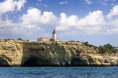 ALBUFEIRA, ALGARVE, PORTUGAL, AUGUST 14, 2017. The lighthouse re Stock Photos