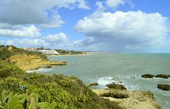 Albufeira Auramar Beach royalty free stock image