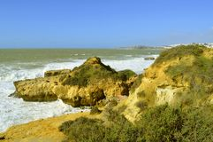 Albufeira Auramar Beach coastal erosion on the Algarve coast. Auramar Beach coastal erosion on the Algarve coast of Portugal royalty free stock photo