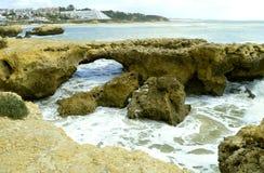 Albufeira Auramar Beach coastal erosion on the Algarve coast. Auramar Beach coastal erosion on the Algarve coast of Portugal stock photos